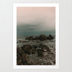 Dark Blue Rocky Ocean Art Print