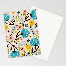 Modern Vintage Blue Floral Garden Stationery Cards
