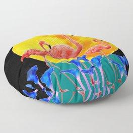 BLACK PINK FLAMINGOS FULL MOON BLUE LILIES Floor Pillow