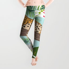 Leopard Art, Colorful, African Animals Art Leggings