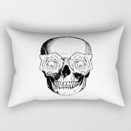 Skull and Roses   Black and White Rectangular Pillow