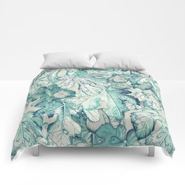 Fig Leaf Fancy - a pattern in teal and grey Comforters