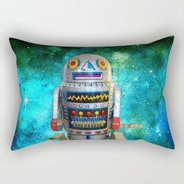 Vintage, retro toy metal robot in galaxy Rectangular Pillow