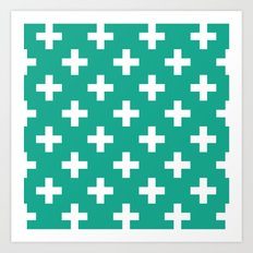Emerald and White Plus Signs  Art Print