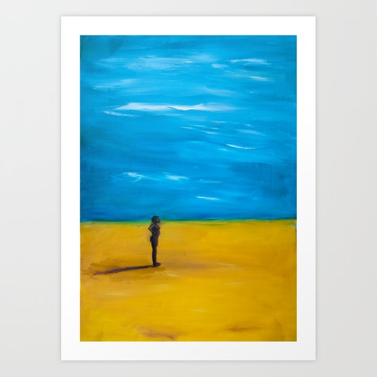 Nude in the desert Art Print