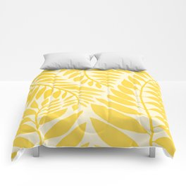 Golden Yellow Leaves Comforters