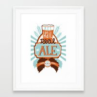 ale giorgini Framed Art Prints featuring All Hail Real Ale by Kerry Hyndman