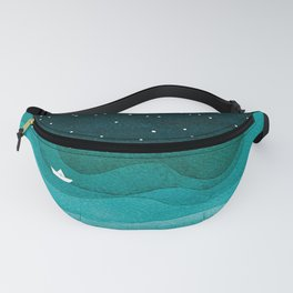 Starry Ocean, teal sailboat watercolor sea waves night Fanny Pack