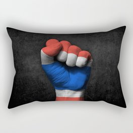 Thai Flag on a Raised Clenched Fist Rectangular Pillow
