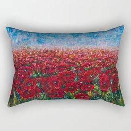 Poppy Field Palette Knife Painting By OLena Art Rectangular Pillow