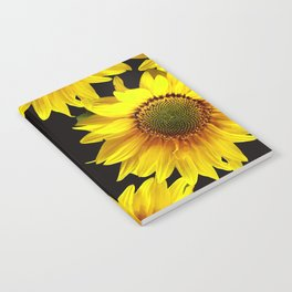 Large Sunflowers on a black background #decor #society6 #buyart Notebook