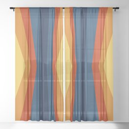 Bright 70's Retro Stripes Reflection Sheer Curtain