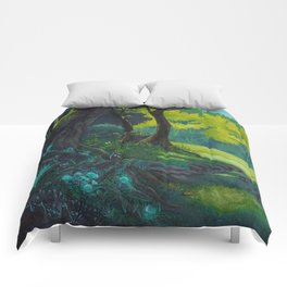 Magic forest glade art bright colors Comforters