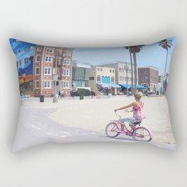 Riding bike in Venice Beach Rectangular Pillow