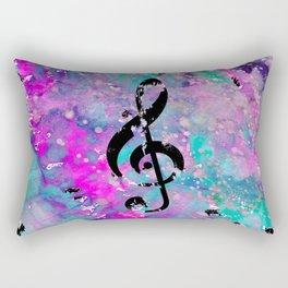 Artistic neon pink teal black watercolor classical music note Rectangular Pillow