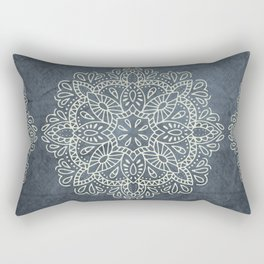 Mandala Vintage Ivory Blue Rectangular Pillow