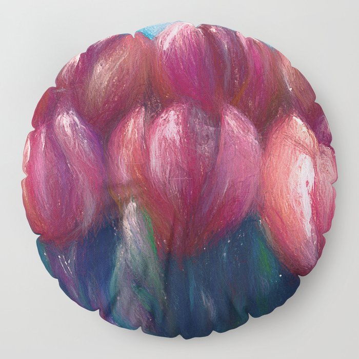 Colorful  Abstract Tulips Panorama Floor Pillow