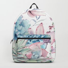 Pretty Pastel Succulents Garden 2 Backpack