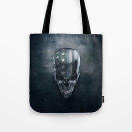 American Flag Skull Tote Bag