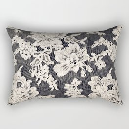 black and white lace- Photograph of vintage lace Rectangular Pillow