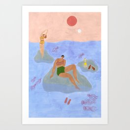 Lonely gals (wearing Frankie Shop bathing suits) Art Print