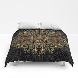 MANDALA IN BLACK AND GOLD Comforters