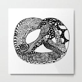 Pretzel Origami Doodle Metal Print