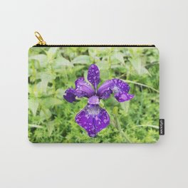 Purple Iris Flower With Raindrops Carry-All Pouch