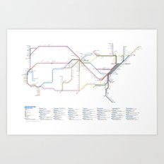 Amtrak as Subway Map 2016 - Current Services Art Print