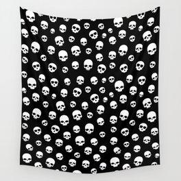 White Skulls Goth Alternative Pattern  Wall Tapestry