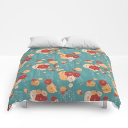 Anemone Floral Bouquets on Blue Comforters
