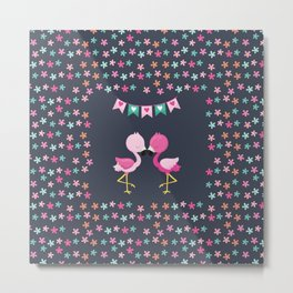 Flamingo love with flowers Metal Print