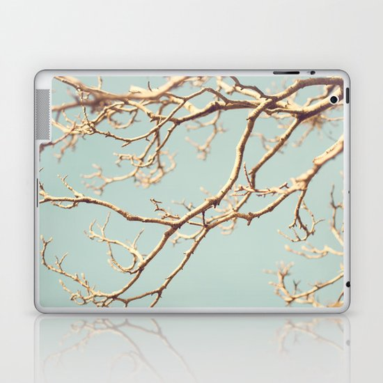 Pale Blue Winter (Tree branches on a retro pale blue sky) Laptop & iPad Skin