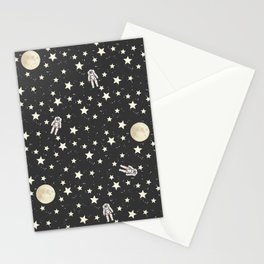 Space - Stars Moon and Astronauts on black Stationery Cards