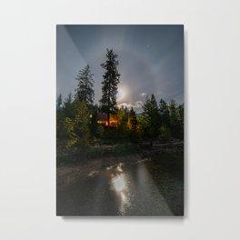 Cabin After Dark Portrait Metal Print