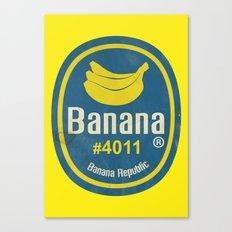 Banana Sticker On Yellow Canvas Print
