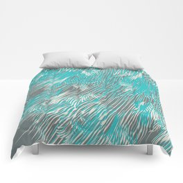 feathered lines in teal Comforters