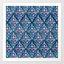 Persian Floral pattern blue and silver Art Print
