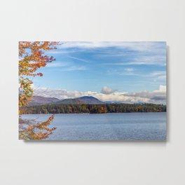 Fall foliage on the lake Metal Print