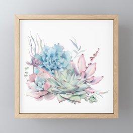 Pretty Pastel Succulents Framed Mini Art Print