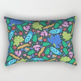 Tropical Neon: Starfish and Leaves Rectangular Pillow