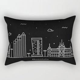 Honolulu Minimal Nightscape / Skyline Drawing Rectangular Pillow