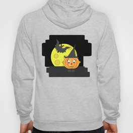 Funny emotionless pumpkin head with bat and moon Hoody