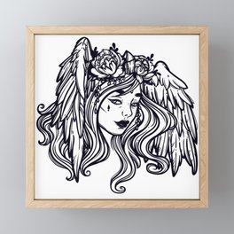 flying head.Gamayun.Sirin.Alconost. Framed Mini Art Print