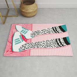 Aiight - sports fashion retro throwback style 1980s neon palm springs socal country club hipster Rug