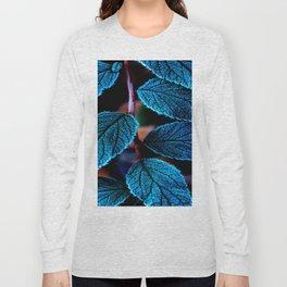 Peacock Blue Leaves Nature Background #decor #society6 #buyart Long Sleeve T-shirt