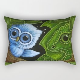 TINY BLUE OWL WITH GREEN FRIENDLY DRAGON - LEARNING GREEN COLOR Rectangular Pillow