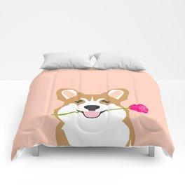 Valentines - Corgi with Rose - Love, Cute Corgi for Corgi Owners, Trendy Girls Love, Valentines Day Comforters