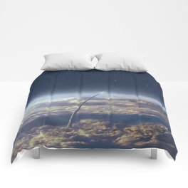 Space exploration earth and night sky Comforters
