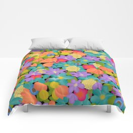 Wild Flowers Design Colorful Feminine Artsy Beautiful Black Background Comforters